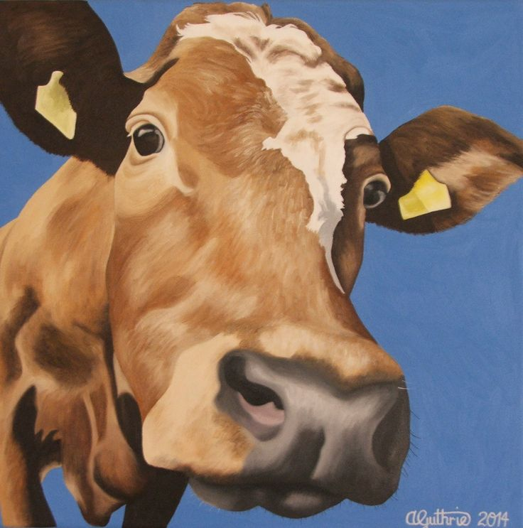 """Moo on Blue"" Sold at the NZ Artshow 2014"