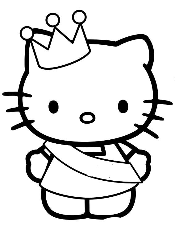 Hello Kitty Wearing A Crown Coloring