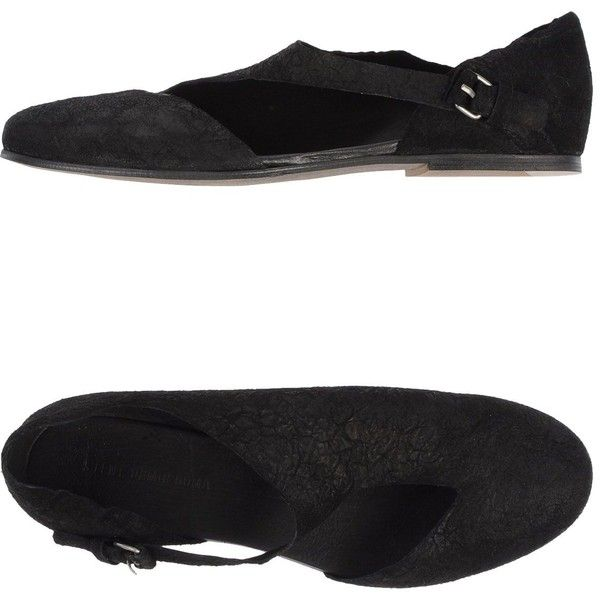 SILENT DAMIR DOMA Ballet flats found on Polyvore featuring polyvore, women's fashion, shoes, flats, black, black shoes, flat shoes, black ballet shoes, black leather flats and ballet shoes