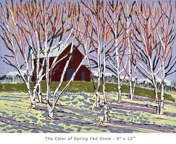 Susan Jaworski-Stranc, Color of Spring Fed Snow, linoleum print