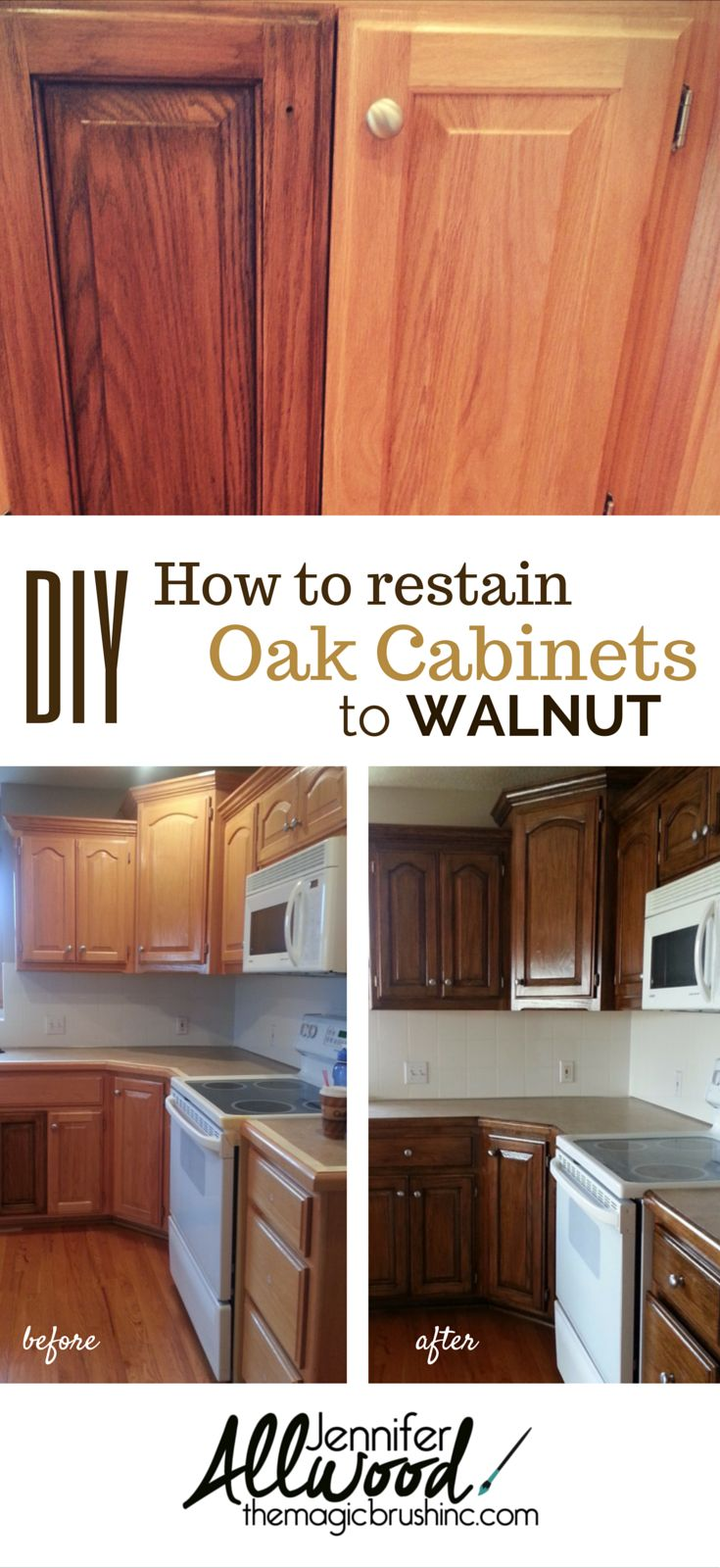 How to change your tired, oak kitchen cabinets to a dark Walnut stain. theMagicBrushinc.com's video has step-by-step instructions, products and trade secrets.