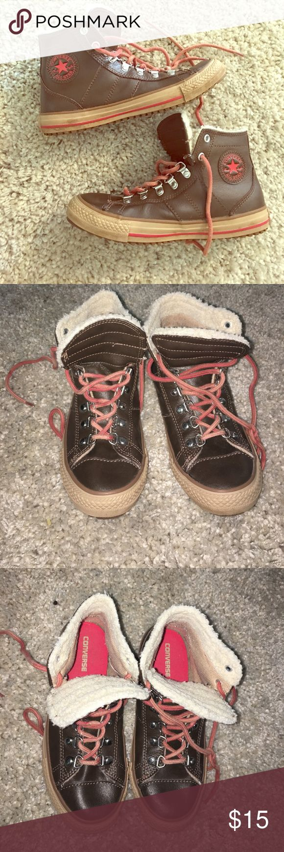 Women's Converse Sneakers These are so cute and different! Brown with red laces and fleece interior. They have that lumberjack boot look in a sneaker form! Which may be weird but I love it! Adorable with cut offs and a flannel. perfect condition! Converse All Star ⭐️ Converse Shoes Sneakers
