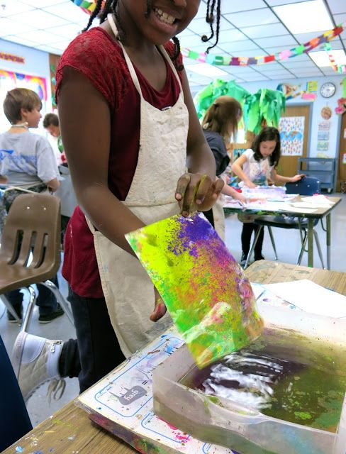 In second grade we are working like crazy with our short 30 minute art classes to try our hands at two different paper treatments: floating chalk prints and shaving cream marbling. My goal has been fo
