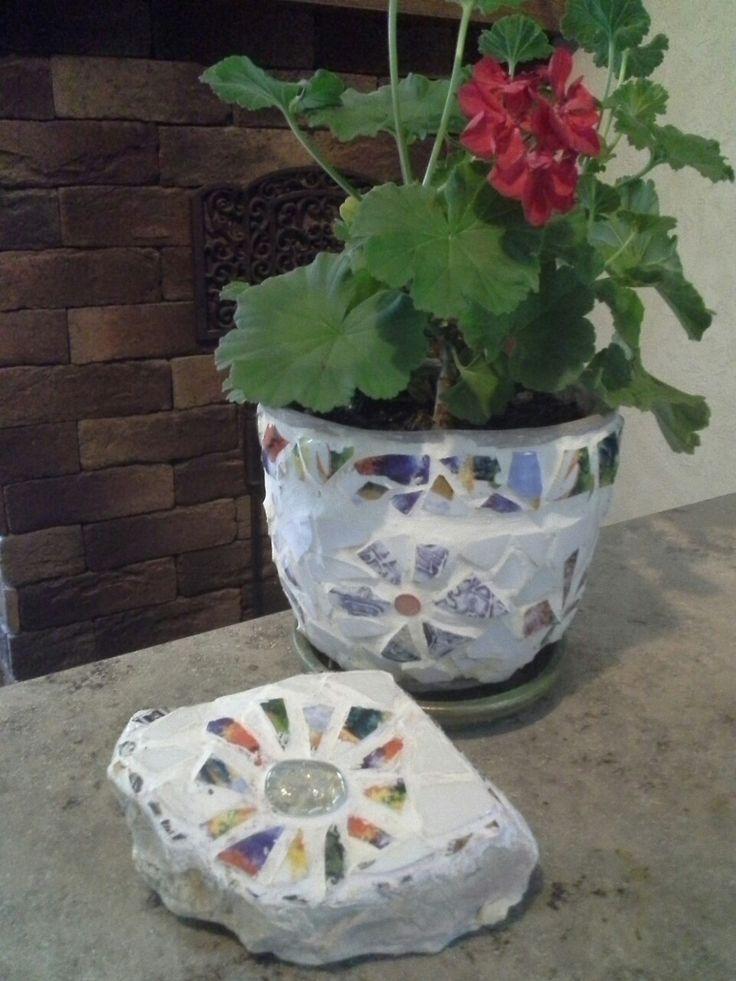 Мозаика, мозаичные горшки для цветов, mosaic