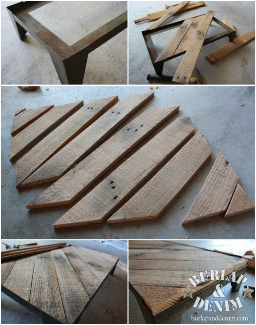 Boards to Vintage Industrial Tray Table. remove the top off of an old coffee table and replace with old barn boards or boards from crates or pallets.