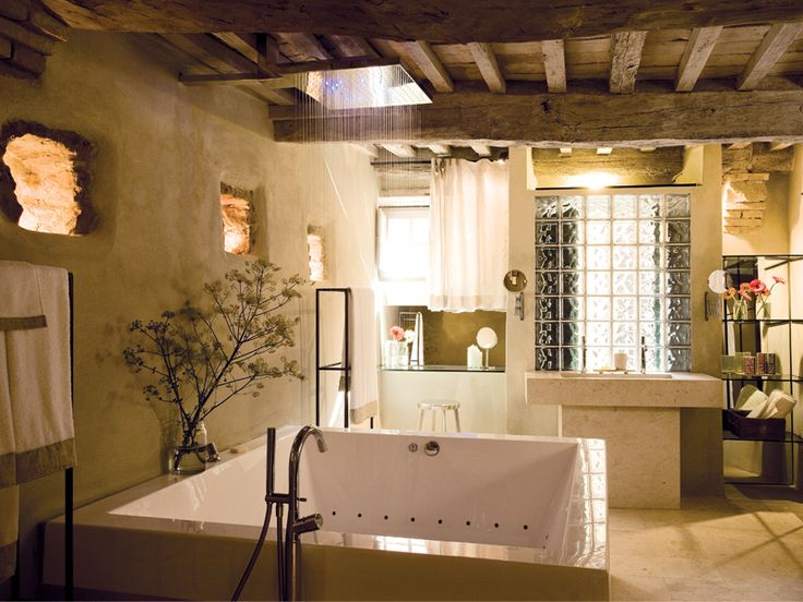 Rain shower; jet bath. Stone double sink. Wood, stone, light. Monteverdi Tuscany  Bathroom ...