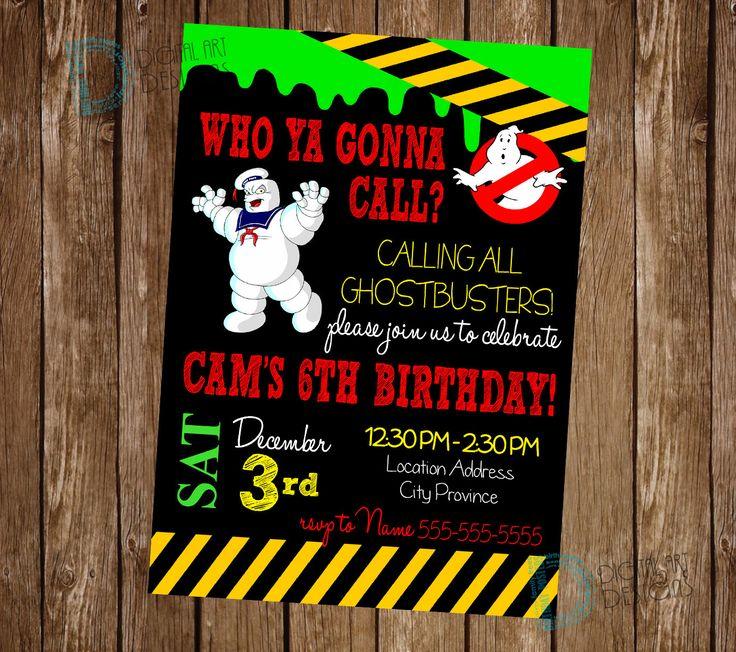 Ghostbusters birthday invitation - Ghostbusters Birthday - Ghost Busters Birthday Party - Ghostbusters Invite *** Digital File Only *** by DigitalArtDesignsByB on Etsy