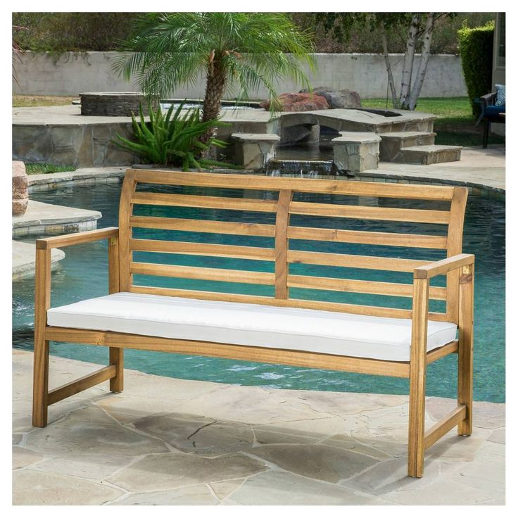Christopher Knight Home Emilano Acacia Wood Patio Loveseat Bench with Cushion - Natural Stained. Image 2 of 4.