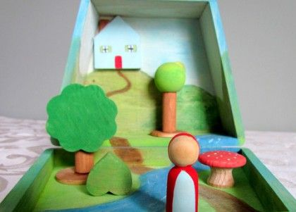 Tutorial - a little wooden box and inside is a story play set.  Little red riding hood, three bears, three pigs, three billy goats, three Doctor Who guys ... the possibilities are endless.