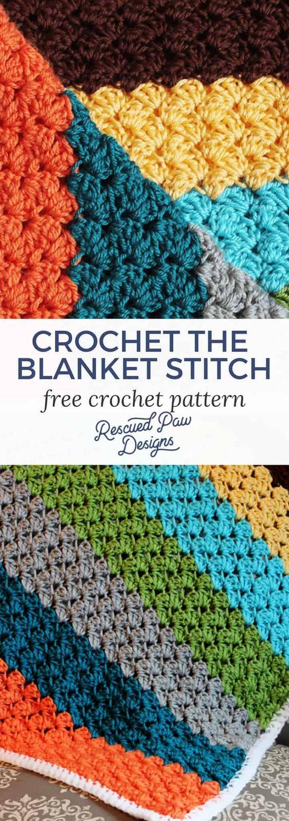 Teste padrão do ponto do cobertor do crochet - projetos salvados da pata