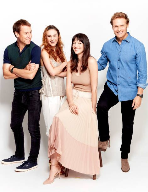 Actors Tobias Menzies, Sophie Skelton, Caitriona Balfe and Sam Heughan from Starz' 'Outlander' poses for a portrait during Comic-Con 2017 at Hard Rock Hotel San Diego on July 21, 2017 in San Diego, California.