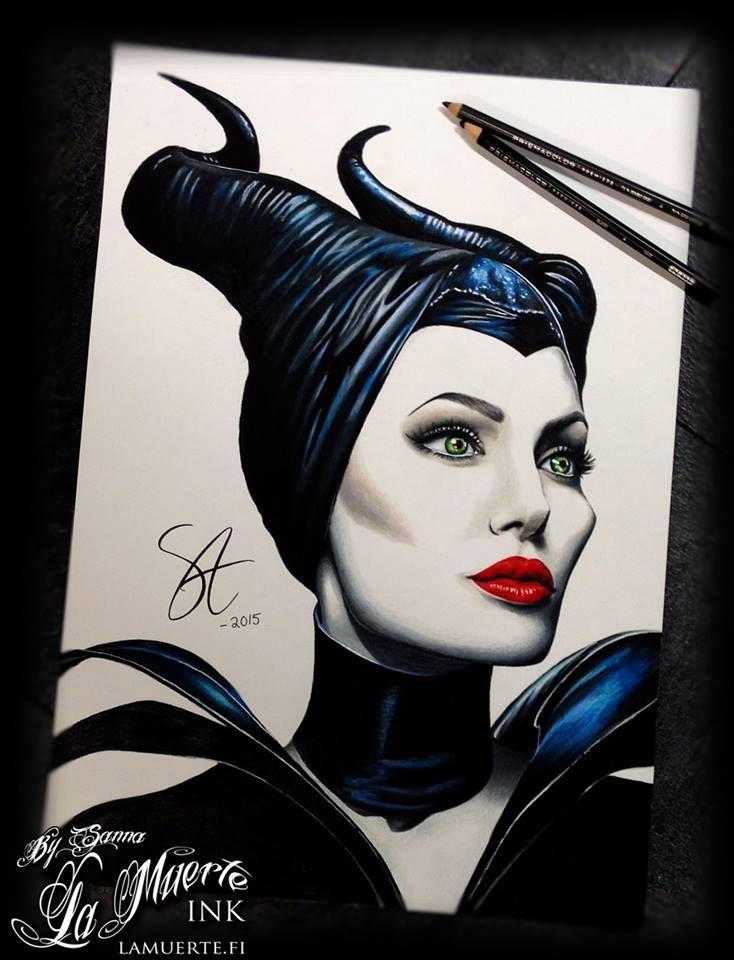 Angelina Jolie as Maleficent potrait by Sanna Angervaniva @ La Muerte Ink