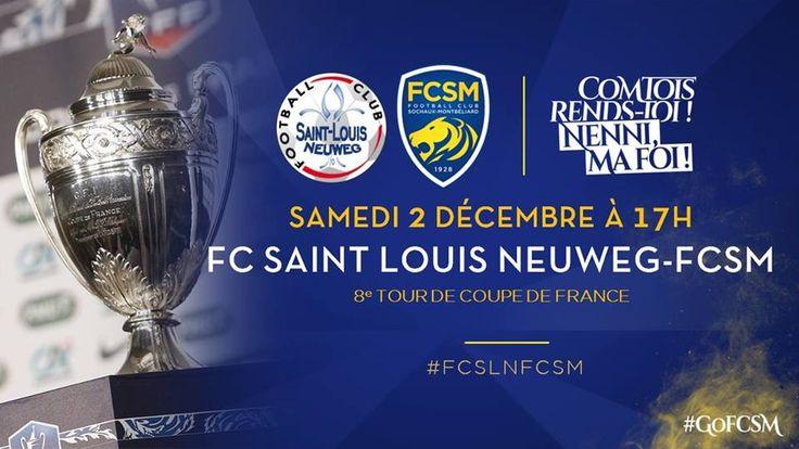 🦁FC Sochaux-Montbéliard🇫🇷  🦁FC SOCHAUX GREEK FANS🇬🇷 Coupe de France de Football 🏆 #TEAMFCSOCHAUX 💛💙️#PROGRAMME 🦁📅  🦁📅  🗓️ Le match du 8e tour de Coupe de France de Football entre le FC Saint-Louis Neuweg et le FC Sochaux-Montbéliard se disputera le samedi 2 décembre à 17h au Stade de la Frontière. #FCSLNFCSM #GoFCSM ► http://www.fcsochaux.fr/fr/index.php/article/10639