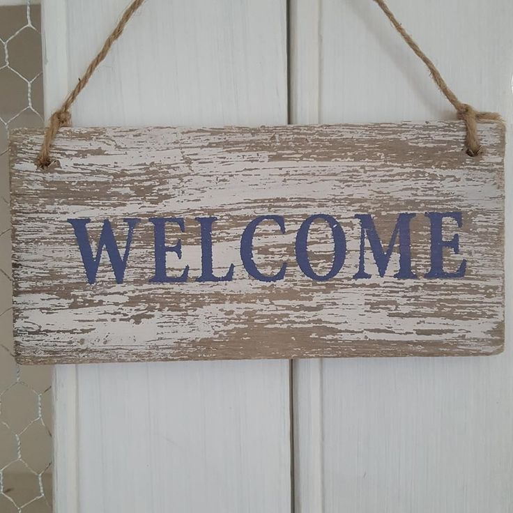 DISTRESSED CHIC N SHABBY WOODEN WELCOME DOOR OR WALL SIGN via Bluelake Interiors. Click on the image to see more!