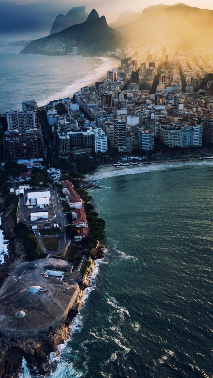 720x1280 Wallpaper City Aerial View Coast Rio De Janeiro Rio