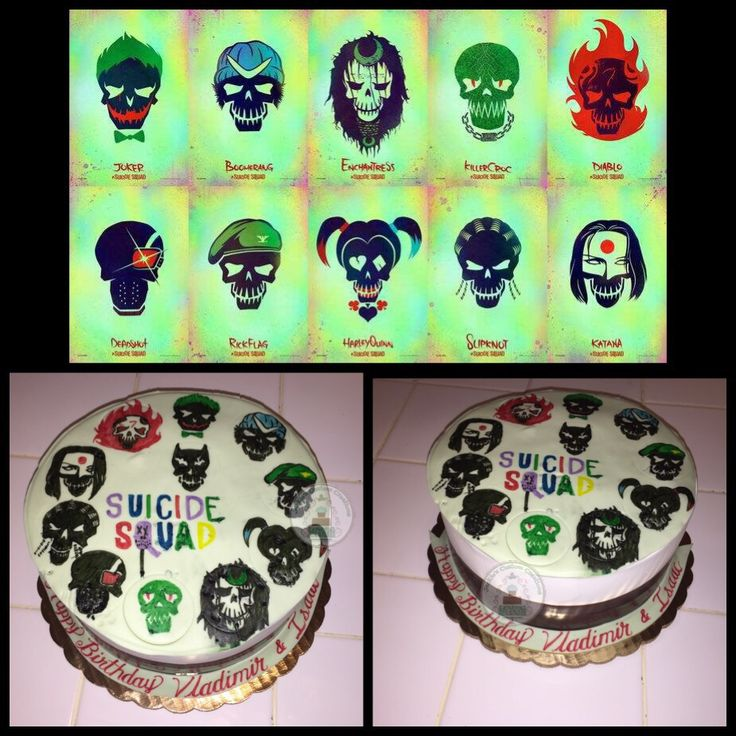 Suicide Squad theme cake. My signature cake vanilla & chocolate cake with fresh fruit filling, covered in whipped cream, and chocolate on the sides, cake details topper is free handmade with edible markers. #Jackiescustomcreations