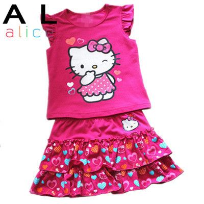 Girls Clothing Set wear cute clothes suit Hello Kitty peach lace skirt suit love Kitty Cat KT skirt + T-shirt 2 Pcs pink kt