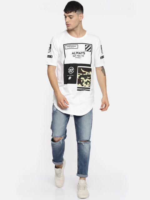 cc5e78877 Buy Moda Rapido Men White Printed Round Neck Longline T Shirt - Tshirts for  Men 4331715 | Myntra