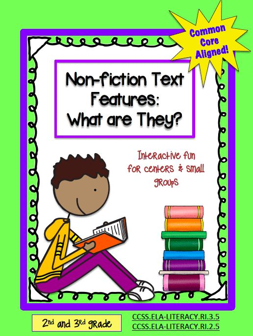 Interactive fun for centers and small groups. It's a Bundle full of Text Features activities, Anchor Charts and resources to teach  Common Core Standards CCSS.ELA-‐LITERACY.RI.2.5 and CCSS.ELA-‐LITERACY.RI.3.5.