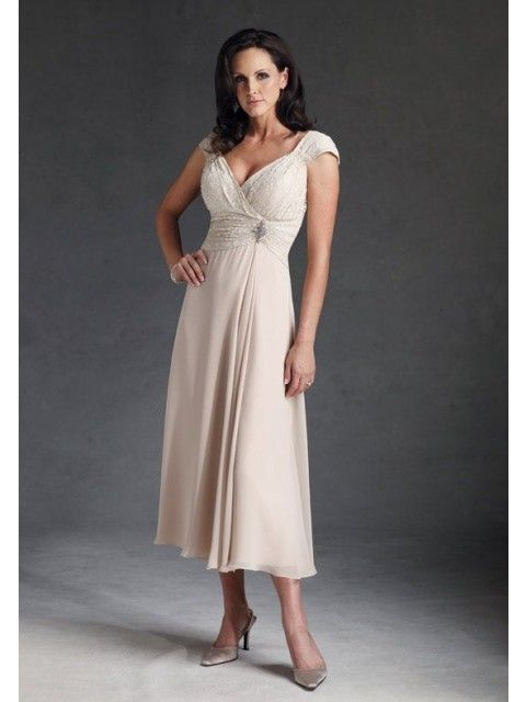 Sheath V-Neck Empire Waist Pleated Chiffon Champagne Tea Length Mother of The Bride Dress With Cap Sleeves
