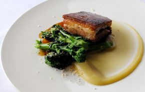 Pork belly with apple purée and sprouting broccoli - Simon Hulstone