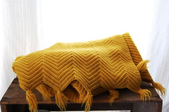 Vintage Yellow Ochre Chevron Stripe Afghan by MansfieldAve on Etsy