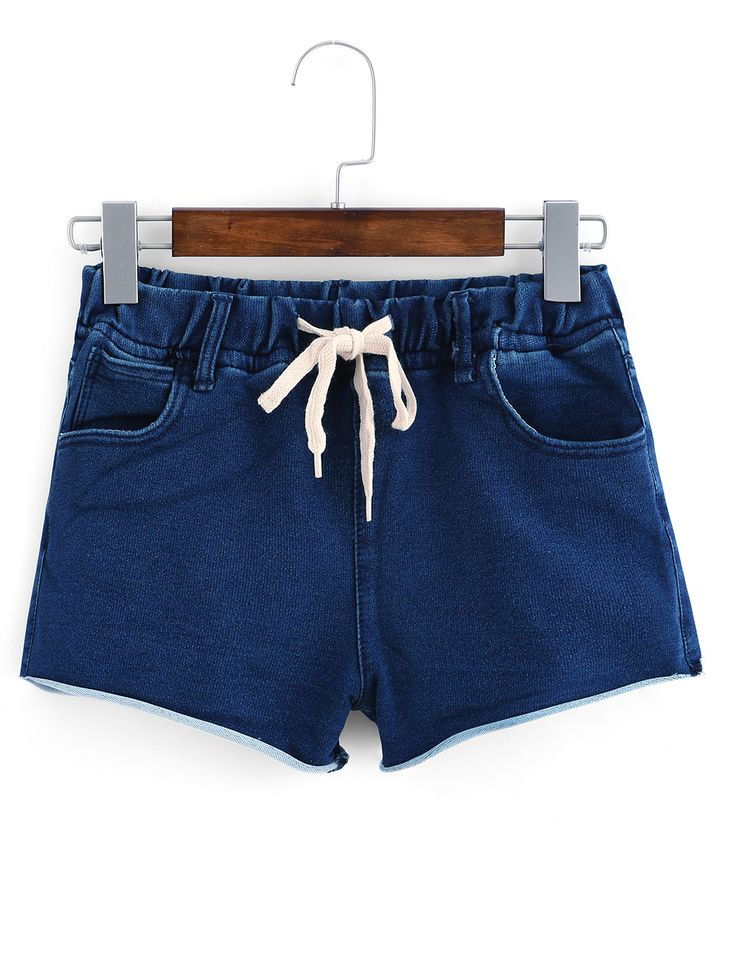Shop Frayed Drawstring Waist Denim Shorts online. SheIn offers Frayed Drawstring…
