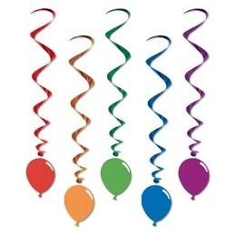 Hangdecoratie Whirls Ballonnen -  Vijf decoraties om op te hangen tijdens een feest in circus thema. Lengte: 100cm. | www.feestartikelen.nl