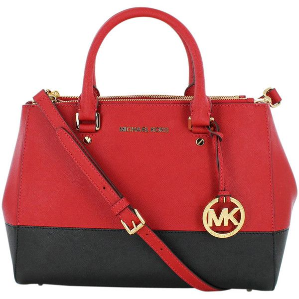 Michael Kors has dressed up the elegant everyday tote with The Sutton  Medium Satchel. This purse features color-block saffiano leather, top  handles to give ...