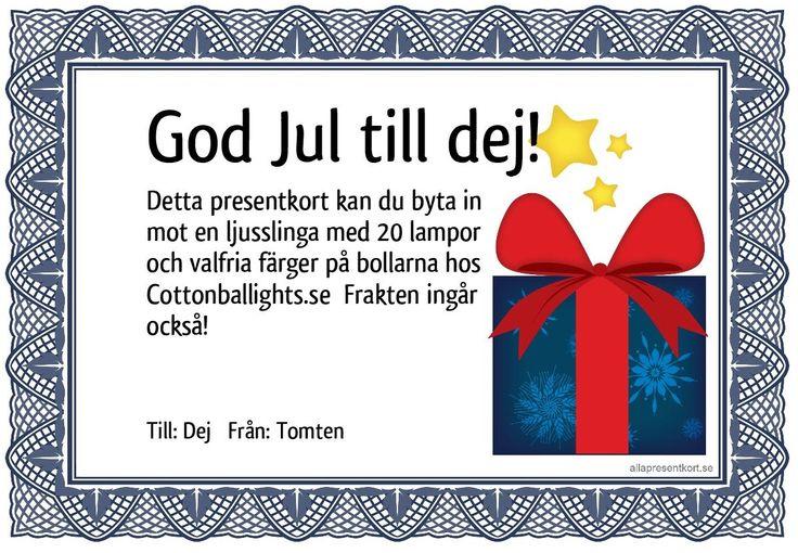 Ge bort en valfri ljusslinga i julklapp! presentkorten hittar du på  www,cottonballights.se #jul #julklapp #julklappstips #present#interiör #inredning #presentkort #dekoration #belysning #ljusslingor #ljusslinga #cottonballights