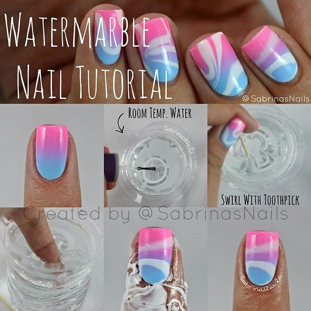 Water Marble Nail Tutorial - spring / summer