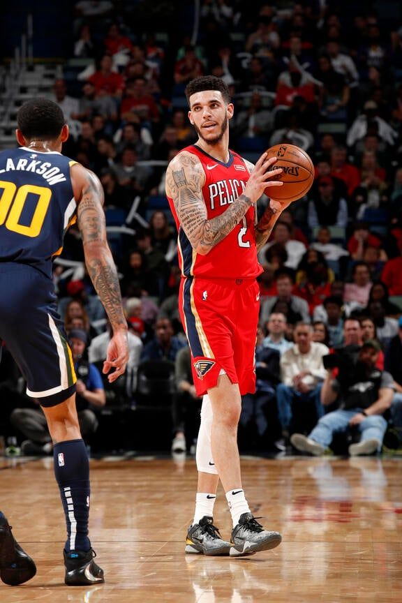 Pelicans Vs Jazz Game Action Photos 2019 20 Game 37 New Orleans Pelicans In 2020 Sports Tshirt Designs New Orleans Pelicans Lonzo Ball