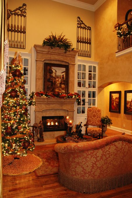 TEXCAN II Chistmas Decoration Pictures Tuscan Inspired Formal Living With Holiday Decor Rooms