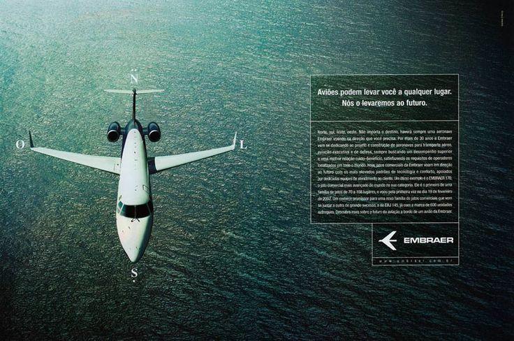 Anúncio Embraer Legacy (agência Salles, 2002). Fotografia aérea do mar por Cássio Vasconcellos
