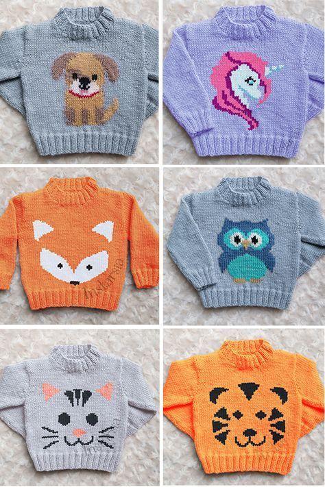 Strickmuster für Baby- und Kinderpullover mit Tieren