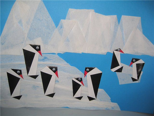 Origami Penguins-Vouwen 2d: pinguin collage voor kleuters