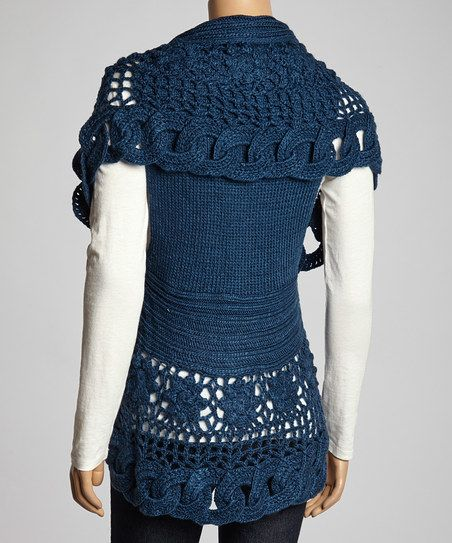 Simply Couture Blue Wool-Blend Sweater Vest | zulily