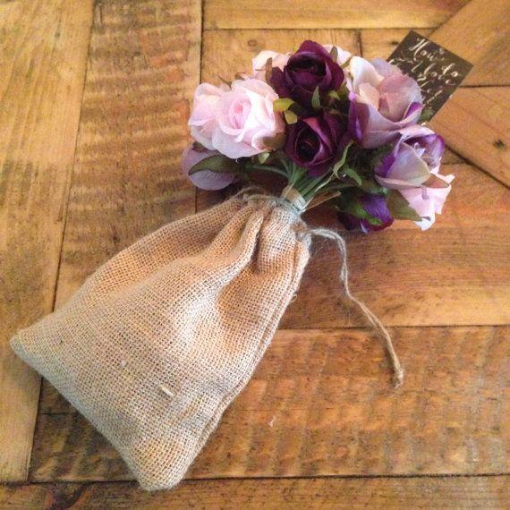 Wedding Decoration  Purple Flowers in Hessian/ by JessieLouise22