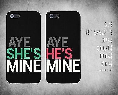 "Cute Couple Phone Case for iPhone 5 5S Cases ""Aye She's / He's Mine"""
