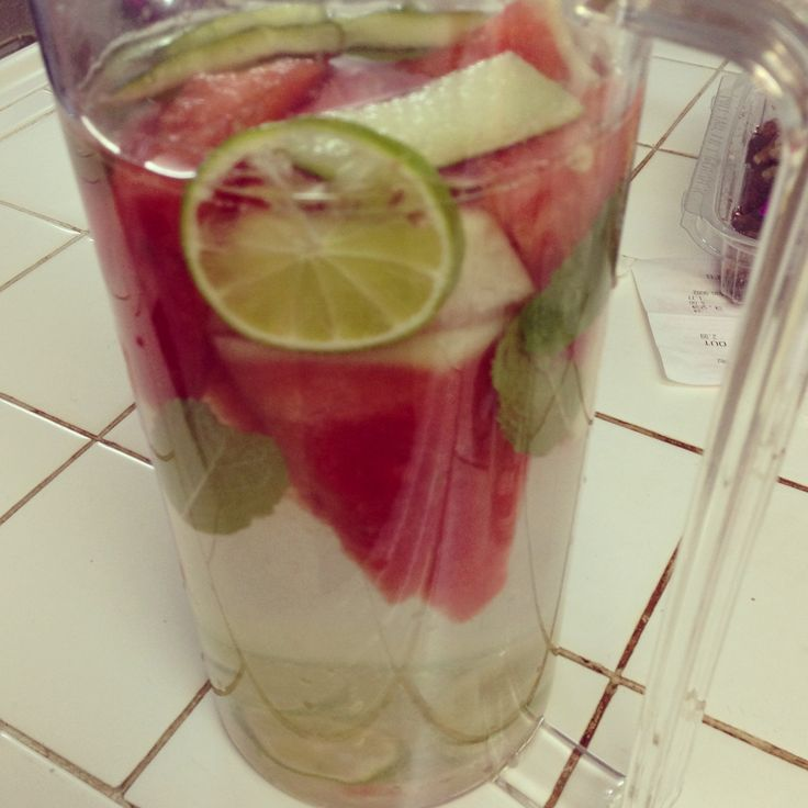 Made my first detox water using watermelon, mint, and lime. Tastes so much like a mojito!