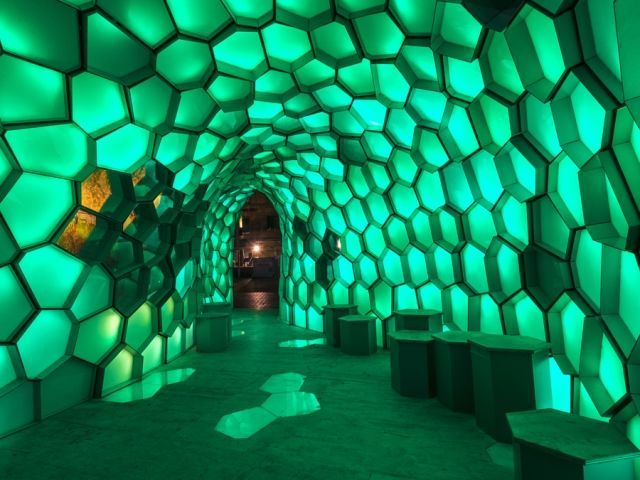 Chris Knapp's Cellular Tessellation Installation is Fuelled by Geometry #neon #architecture trendhunter.com