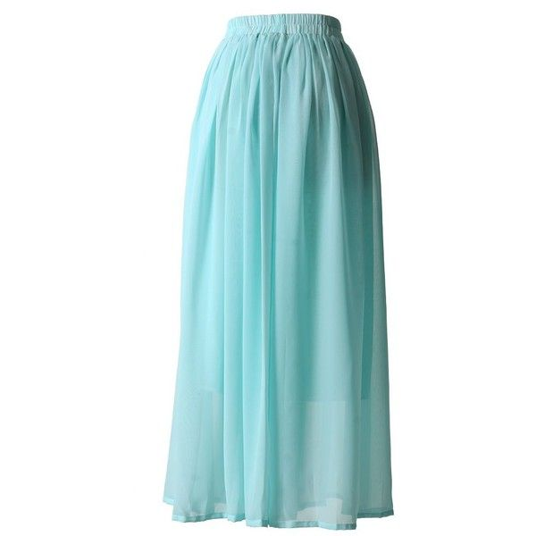 Chicwish Mint Blue Pleated Maxi Skirt ($32) ❤ liked on Polyvore featuring skirts, long chiffon skirt, blue maxi skirt, blue pleated skirt, blue skirt and chiffon skirts