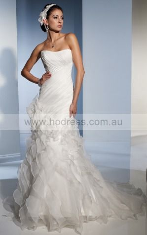 Mermaid Sleeveless Strapless Lace-up Floor-length Wedding Dresses feaf1074--Hodress