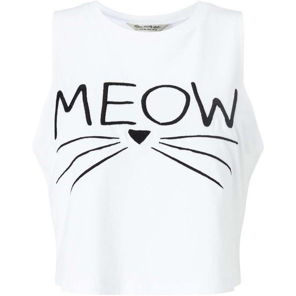 Miss Selfridge Petites 'Meow' Slogan Vest Top ($25) ❤ liked on Polyvore featuring tops, petite, white, cotton tank, miss selfridge, white singlet, white cotton tops and white cotton tank
