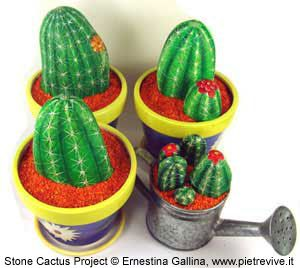 ILLUSTRATED TUTORIAL: Stone Cactus Project By Ernestina Gallina  You don't need a green thumb to grow this cactus, only rocks and acrylic paint! This everlasting, non-thorny cactus with its bright colors will decorate any corner of your home or office. Just choose an ordinary rock whose shape suggests the plant's shape, pot it, and finally paint it to resemble a real cactus!  What you'll need:  pot or vase   moulding powder   water   rocks   acrylic colors   brushes