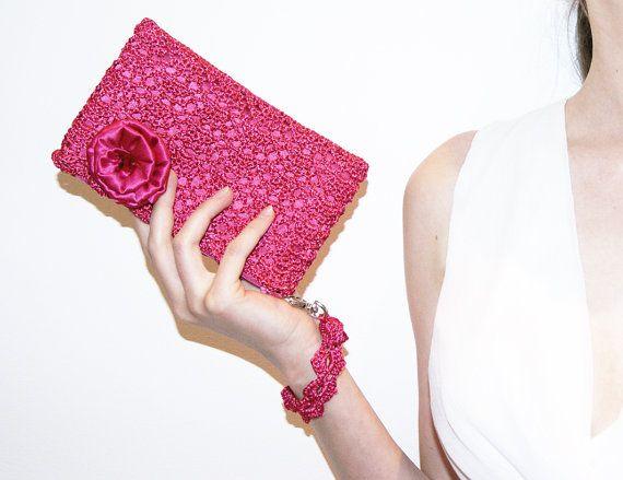 Fuchsia Pink Rossette Crochet Clutch Bag by KeraSoftwear on Etsy, $65.00