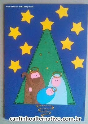 Olá amigos, tudo bem? Segue cinco lindos modelos de cartões de natal: Fonte: http://maestra-nella.blogspot.it/...