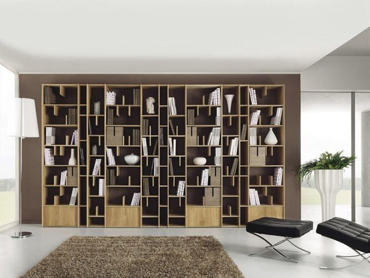 Wall-mounted wooden bookcase ESPACE by Domus Arte | design Enrico Bedin