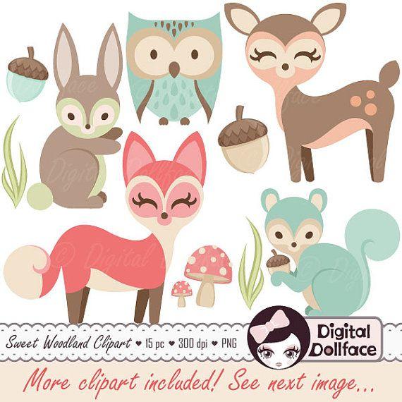 Amigos de bosque bosque vivero Imágenes Prediseñadas, prediseñadas de animales de bebé, bebé ducha, zorro, Búho, conejo y más!