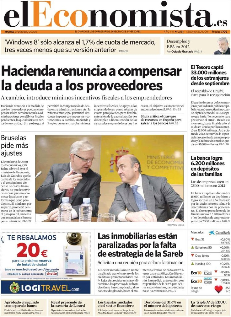 17 best 29-01-2013 Portadas Periodicos Diarios Spain News Spanish ...